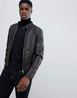 Barney's Originals Faux Leather Biker Jacket