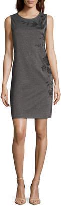 Liz Claiborne Sleeveless Embroidered Sheath Dress
