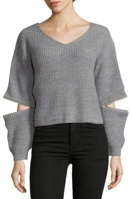 V-Neck Zip-Sleeve Sweater