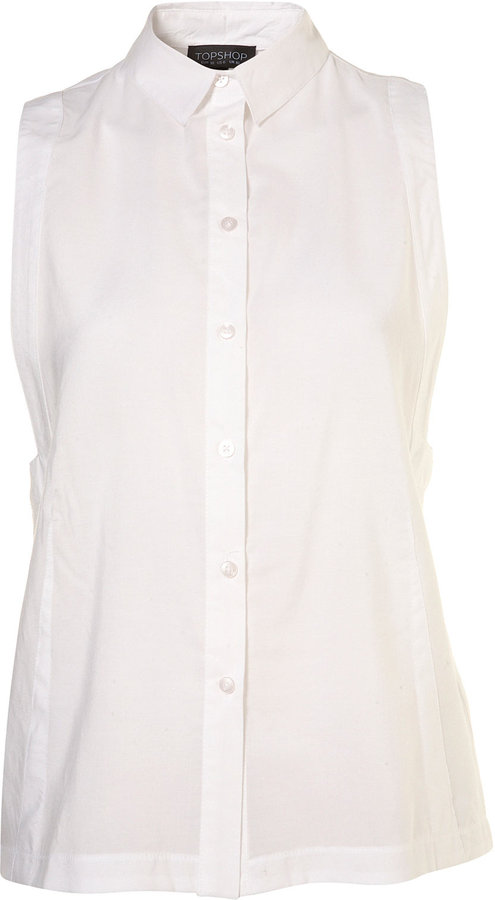 White Sleeveless Square Armhole Shirt