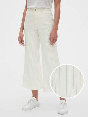 Gap High Rise Stripe Wide-Leg Crop Jeans