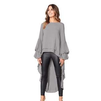 Qixuan Women's Lantern Long Sleeve Round Neck High Low Asymmetrical Irregular Hem Casual Tops Blouse Shirt Dress M