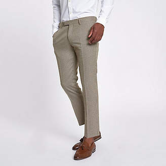 River Island Brown dogstooth check cropped skinny pants