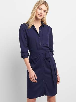 Gap Long Sleeve Shirtdress with Ruching