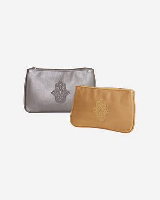 Metallic Leather Hamsa Design Purse Set
