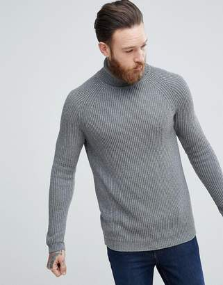 Asos Ribbed Wool Roll Neck Jumper In Charcoal