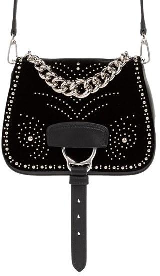 Miu MiuMiu Miu 'Small Dahlia' Velvet & Calfskin Leather Saddle Bag - Black