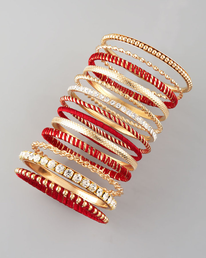 Cara Accessories 13-Piece Bangle Set, Burgundy