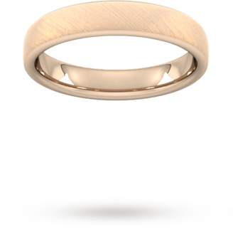 4mm Flat Court Heavy diagonal matt finish Wedding Ring in 9 Carat Rose Gold