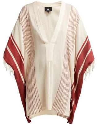 Su Paris - Ditaki Cotton Blend Fringe Kaftan - Womens - Red Stripe