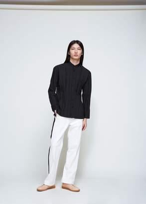 Issey Miyake Band Collar Wrinkle Shirt