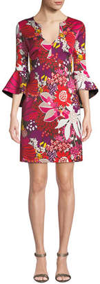 Trina Turk Winnie Bell-Sleeve Floral Mini Dress