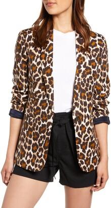 J.Crew Parke Leopard Print Linen Blend Blazer