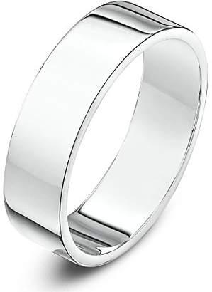 Theia Unisex 9 ct White Gold, Super Heavy Flat Shape, Polished, 5 mm Wedding Ring - Size P