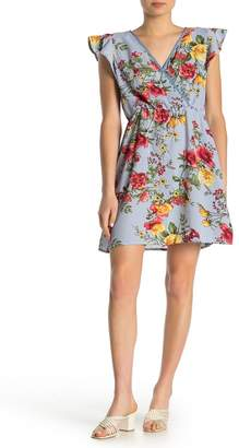 Just For Wraps Floral Flutter Sleeve Dress