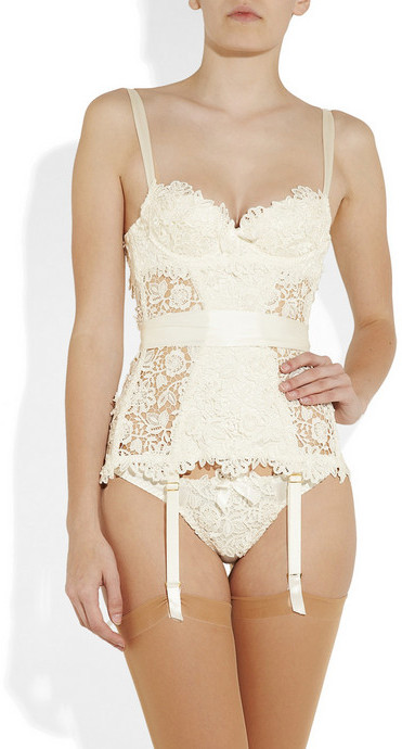 Agent Provocateur Gene guipure lace and silk-satin corset