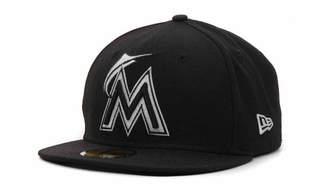 New Era Miami Marlins Mlb Black and White Fashion 59FIFTY Cap