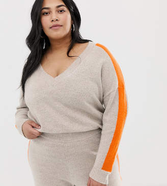 Asos DESIGN Curve two-piece sweater with tipping