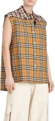Hen Sleeveless Vintage Check Button-Front Shirt