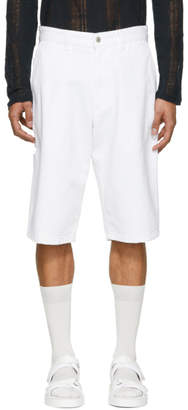 Ami Alexandre Mattiussi White Denim Worker Shorts