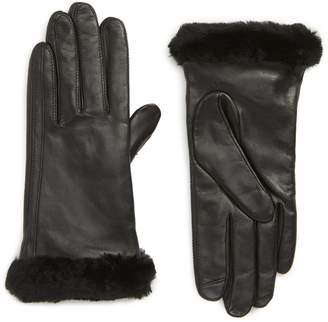 UGG Touchscreen Compatible Leather Gloves with Genuine Shearling Trim