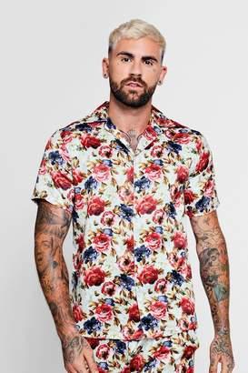 boohoo Vintage Floral Short Sleeve Satin Shirt