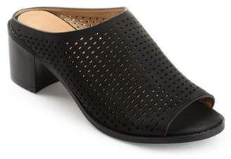 Co Brinley Collection Brinley Womens Faux Nubuck Open-toe Perforated Mules