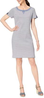 Karen Scott Petite Striped Cotton T-Shirt Dress