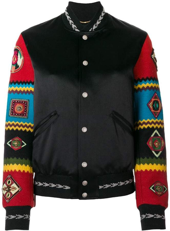 Teddy jacket with embroidered sleeves