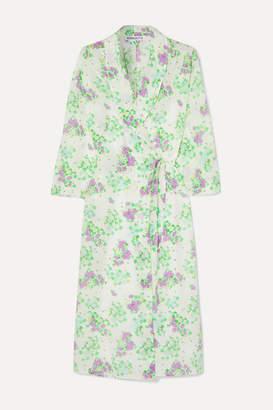 BERNADETTE - Elle Floral-print Silk Crepe De Chine Wrap Midi Dress - Green