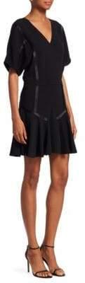 Halston V-Neck Flounce Mini Dress
