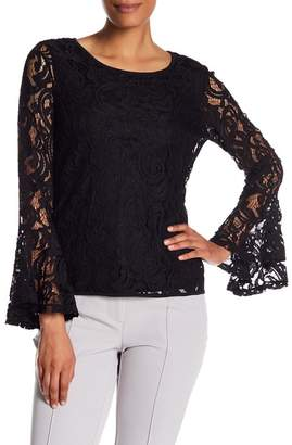 Adrianna Papell Lace Dramatic Bell Sleeve Blouse