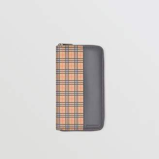 Burberry Small Scale Check and Leather Ziparound Wallet, Yellow