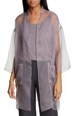 Eileen Fisher Sheer Silk Open Front Jacket