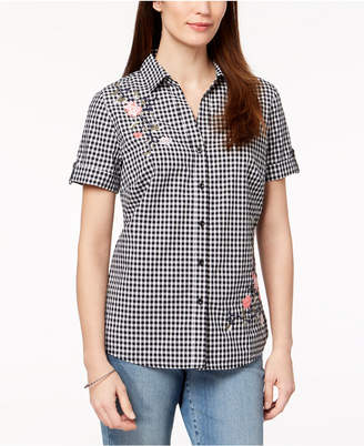 Karen Scott Petite Cotton Floral-Embroidered Gingham Shirt, Created for Macy's