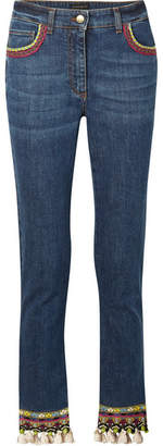 Etro Cropped Embellished High-rise Skinny Jeans - Mid denim
