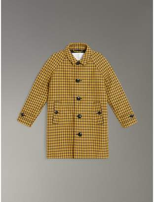 Burberry Shrunken Check Cotton Blend Car Coat