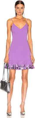 David Koma Circle Embellished Ruffle Mini Dress in Lavender & Silver | FWRD