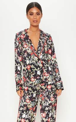PrettyLittleThing Multi Floral Satin Printed Button Front Shirt