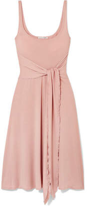 Reformation August Tie-front Stretch-lyocell Dress - Blush