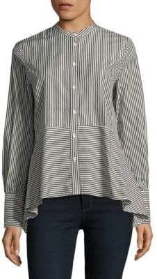 French Connection Striped Mix Cotton Peplum Top