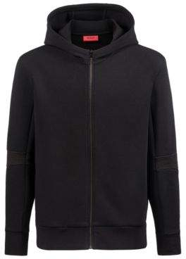 HUGO Boss Oversized-fit zippered hoodie ribbed elbows L Black