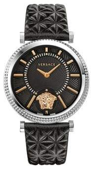 Versace Helix Leather Strap Watch