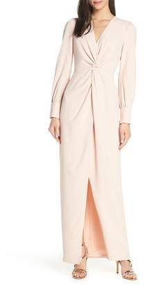 Harlyn Twist Front Faux Wrap Gown