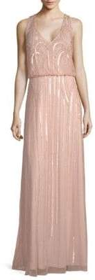 Adrianna Papell Beaded Floor-Length Blouson Dress