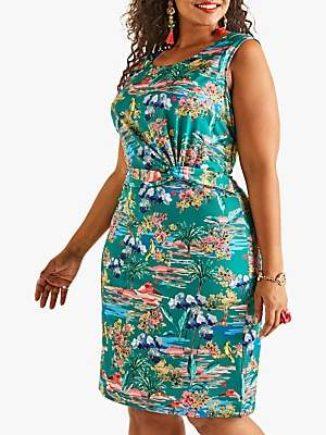 Yumi Curves Floral Print Jersey Dress, Green