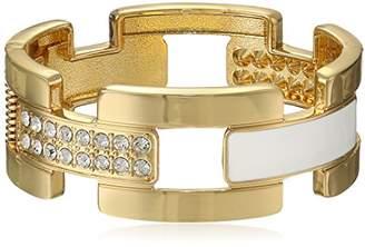 GUESS Basic Gold and White Enamel Frozen Link Hinge Bangle Stretch Bracelet