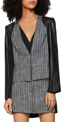 BCBGeneration Faux Leather & Tweed Cape Blazer