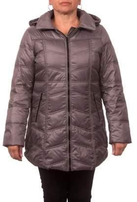 6ea524fb86f ONLINE Women s Plus Size Down Blend Chevron Quilt Zip-Front Coat with Hood
