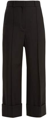 Racil - Leonard Side Stripe Wide Leg Wool Cropped Trousers - Womens - Black Blue